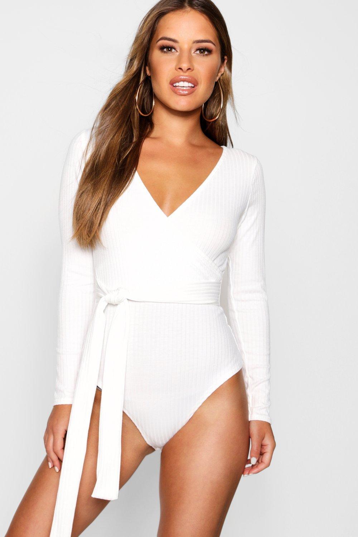 Womens Petite Knitted Wrap Bodysuit - cream - 34, Cream - Boohoo.com