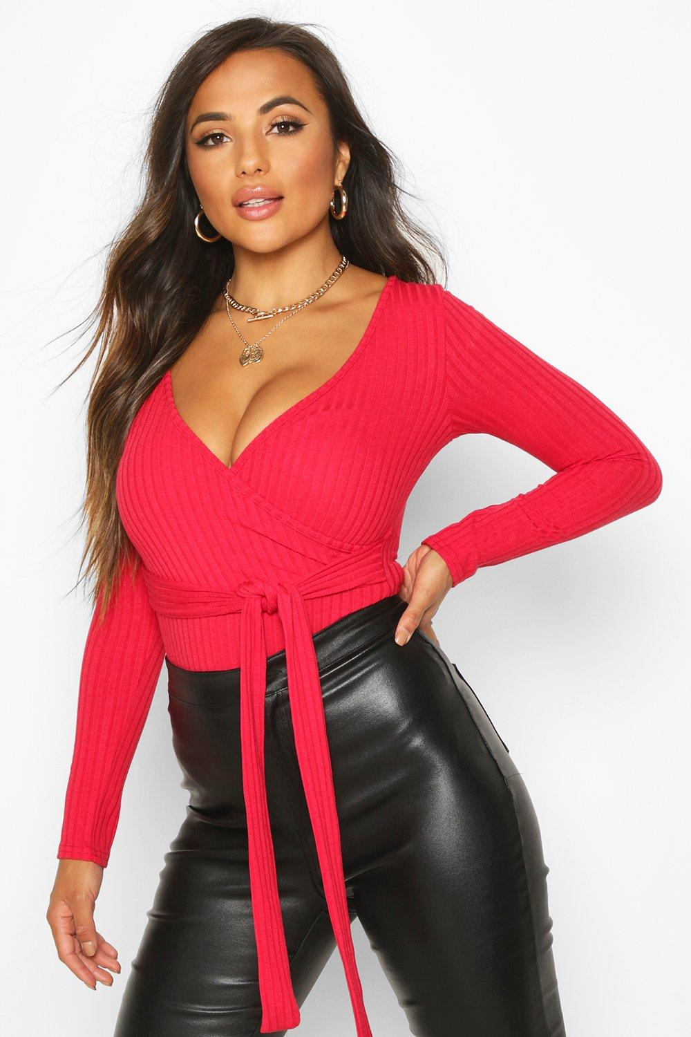 Womens Petite Knitted Wrap Bodysuit - red - 30, Red - Boohoo.com