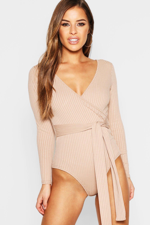 Womens Petite Knitted Wrap Bodysuit - stone - 32, Stone - Boohoo.com
