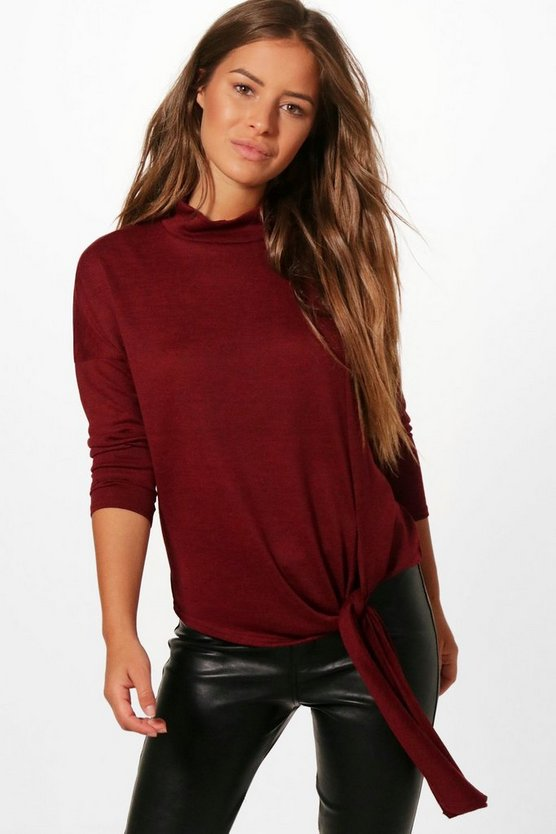 Petite Naomi Knot Front Slouchy Turtle Neck Jumper