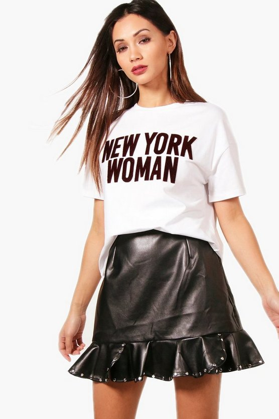 Petite Heather New York Slogan T-Shirt
