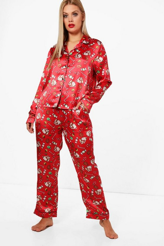 Plus Maria Christmas Piping Trouser PJ Set