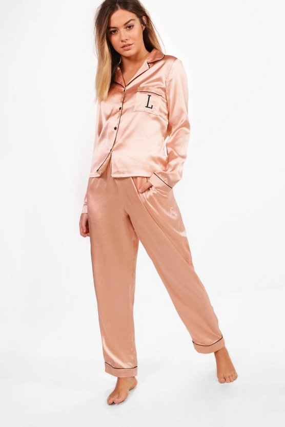 Petite Yasmin Letter 'L' Embroidered Trouser Set