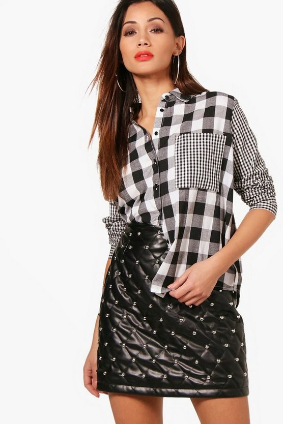 Petite Contrast Check Oversized Shirt
