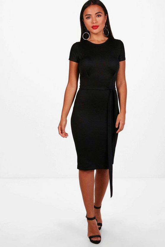 Petite Eva Pleat Front Tailored Midi Dress