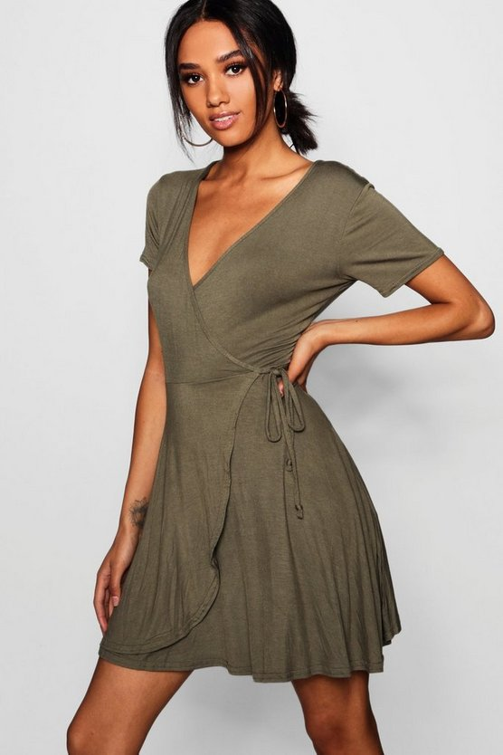 Petite Hannah Wrap Skater Dress