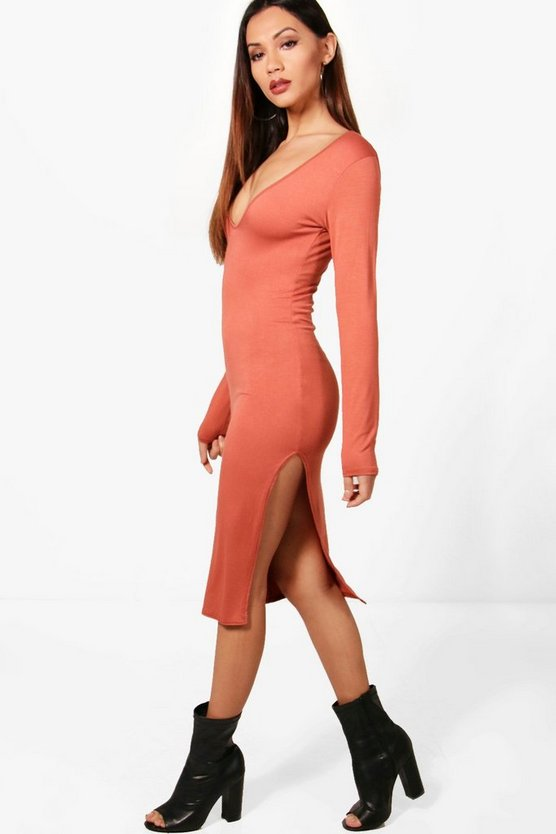 Petite Lucy Viscose Split Side Midi Dress