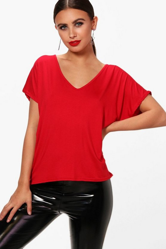 Petite Milly Slouchy V Neck Tee