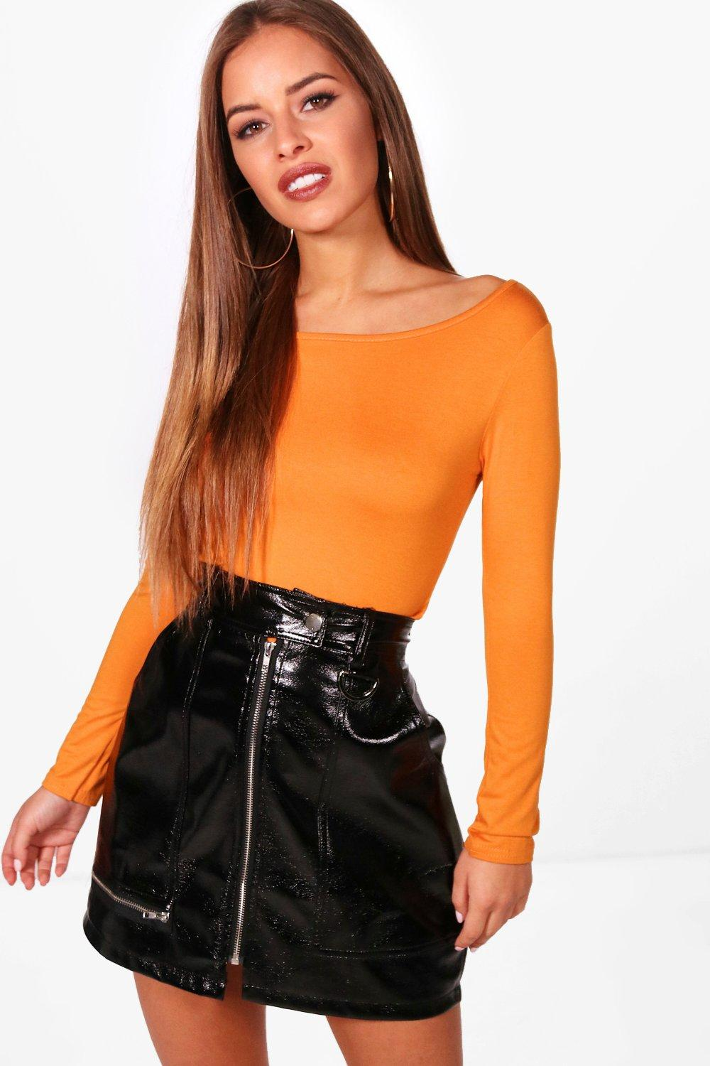 Womens Petite Basic Long Sleeve Top - amber - 30, Amber - Boohoo.com