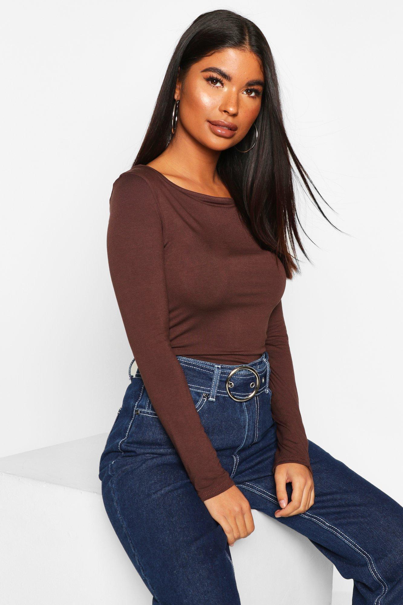 Womens Petite Basic Long Sleeve Top - chocolate - 30, Chocolate - Boohoo.com