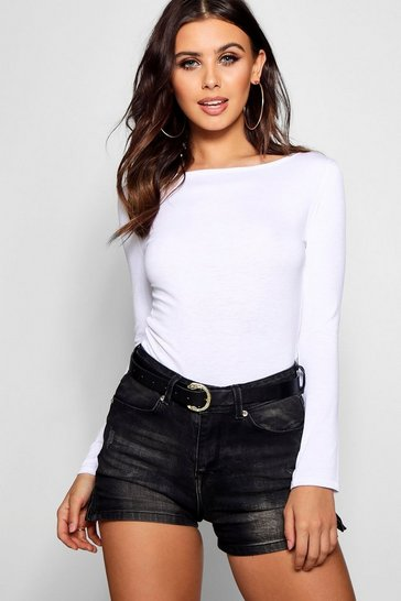 White Petite  Basic Long Sleeve Top