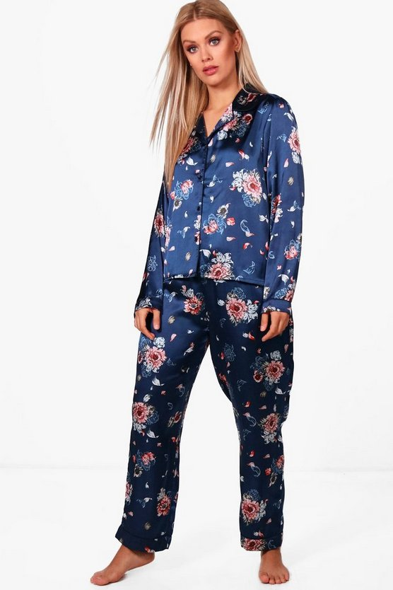 Plus Lana Print Satin Contrast Piping Trouser Set