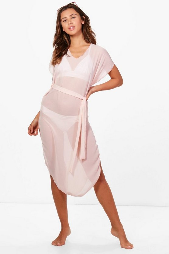 Petite Marie Plunge Chiffon Beach Dress