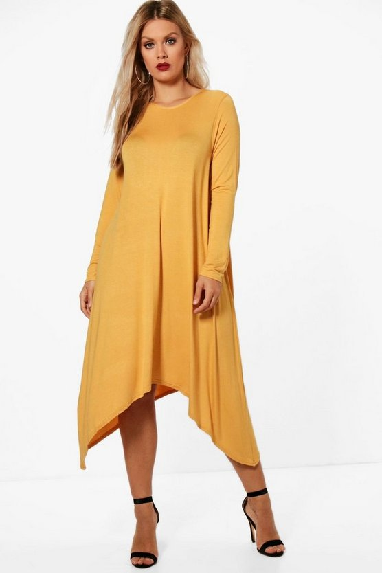 Plus Pamela Long Sleeve Hanky Hem Swing Dress