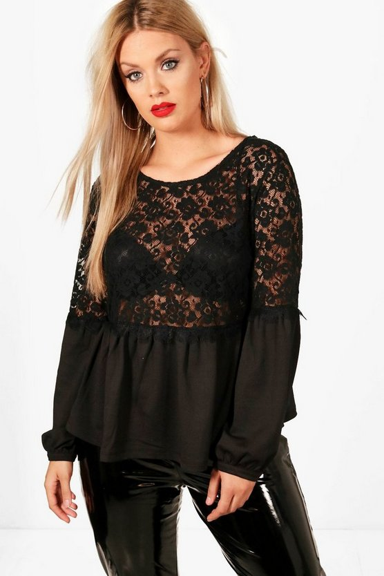 Plus Francesca Velvet Lace Blouse