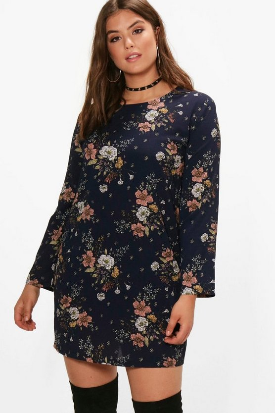 Plus Bella Printed Long Sleeve Shift Dress