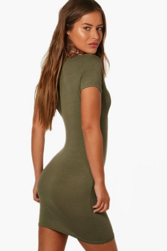 Petite Lilly Deep V Basic T-Shirt Dress