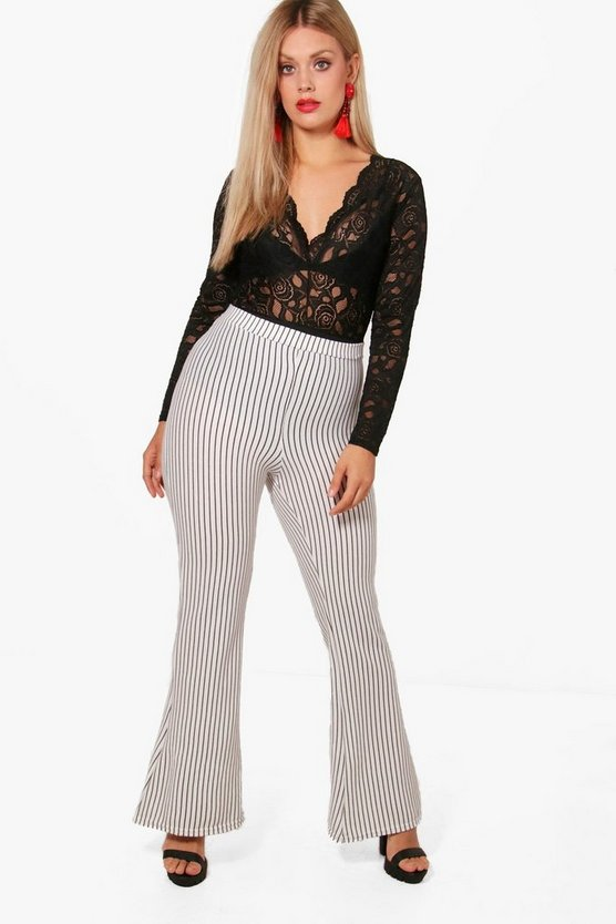 Plus Laura Stripe Rib Wide Leg Trouser