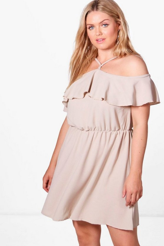 Plus Olivia Woven Drape Sleeve Ruffle Skater Dress