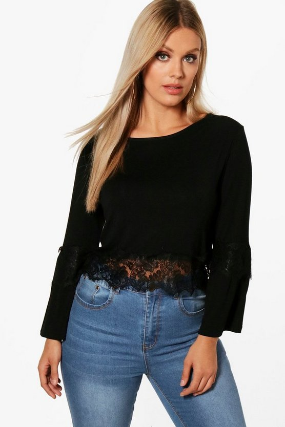 Plus Frankie Lace Detail Flare Sleeve Top
