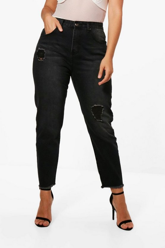Plus Alana Distressed Mom Jean