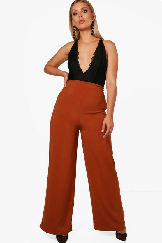 Plus Jane Woven Wide Leg Trouser