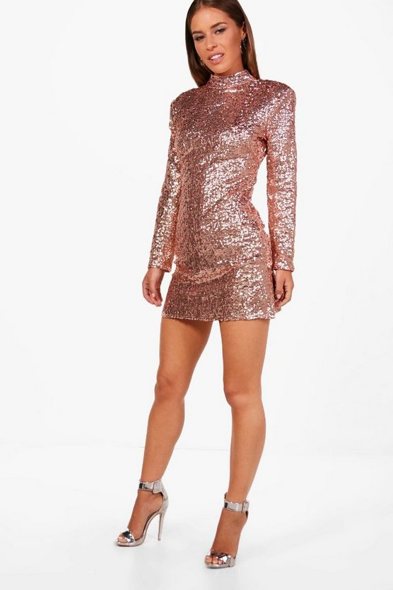 Petite Liz Sequin Power Shoulder Bodycon Dress