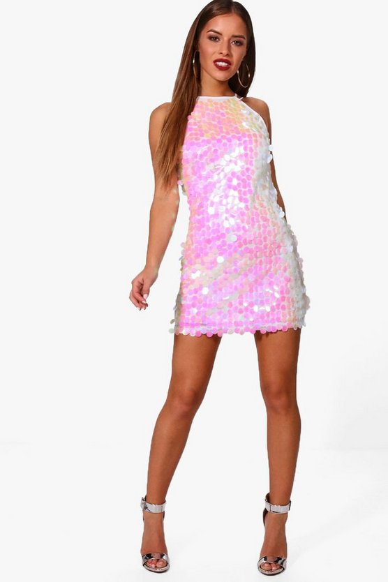 Petite Sarah Iridescent Disk Sequin Dress