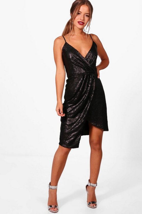 Petite Sequin Wrap Front Midi Dress