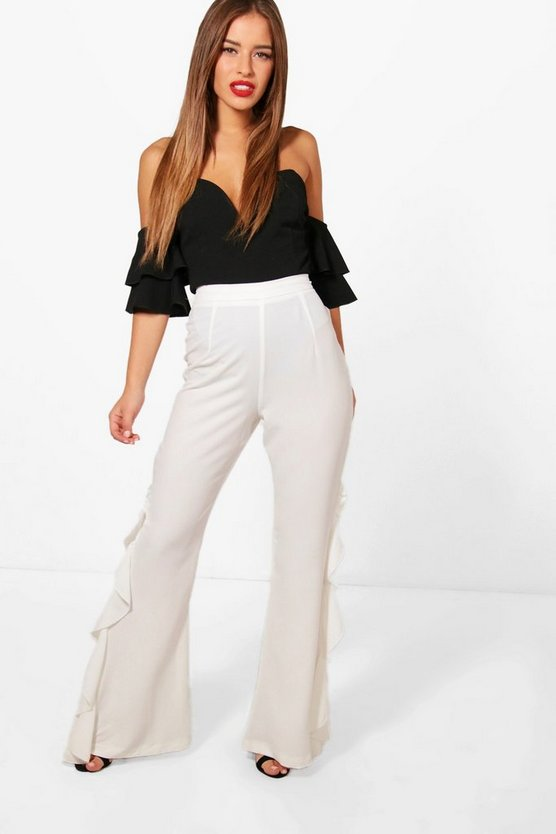 Petite Louise Frill Side Wide Leg Woven Trouser