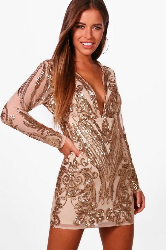 Petite Sequin Long Sleeve Bodycon Dress