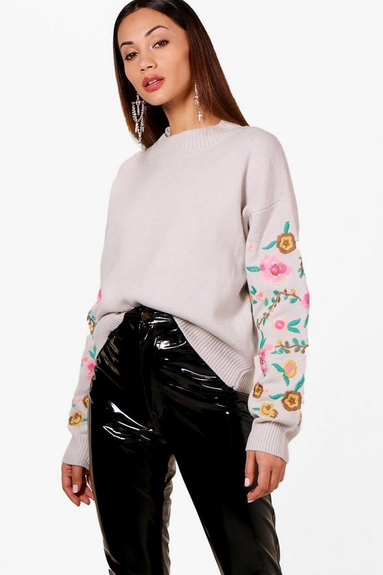 Petite Embroidered Sleeve Jumper