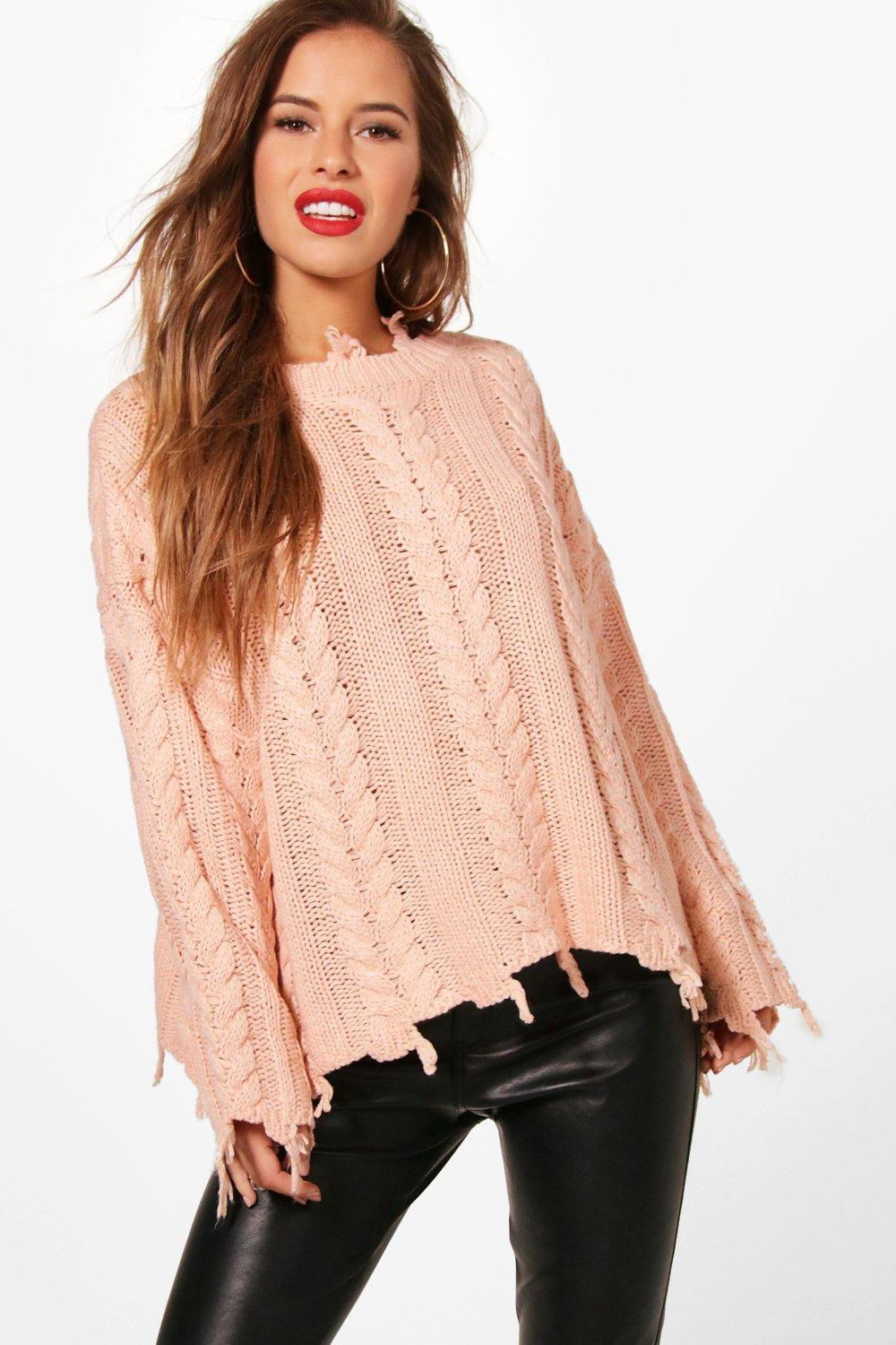 petite taylor distressed cable cropped jumper | boohoo