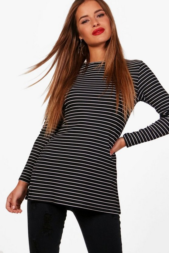 Petite Side Split Stripe Knitted Top