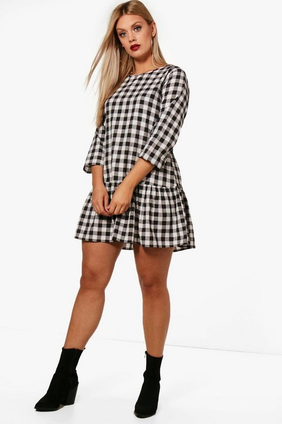 Plus Gingham Drop Hem Dress