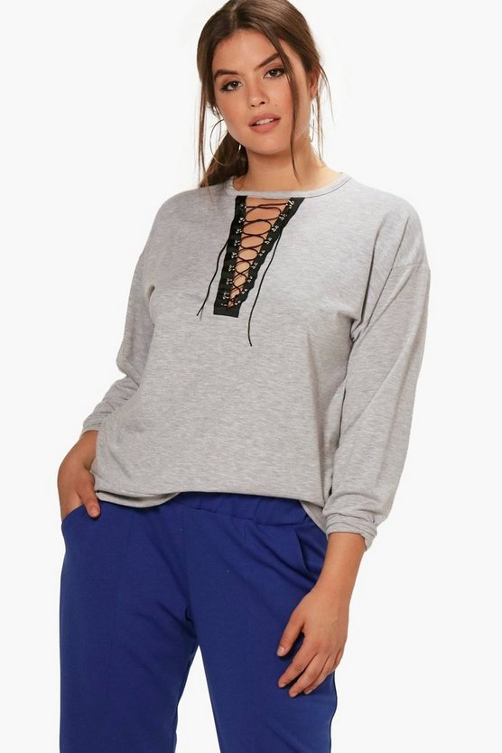 Plus Elisha Eyelet Detail Sweat Top
