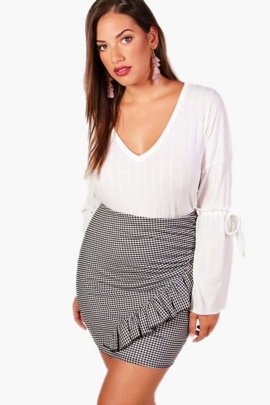 Plus Tanya V Neck Flute Sleeve Ribbed Tee