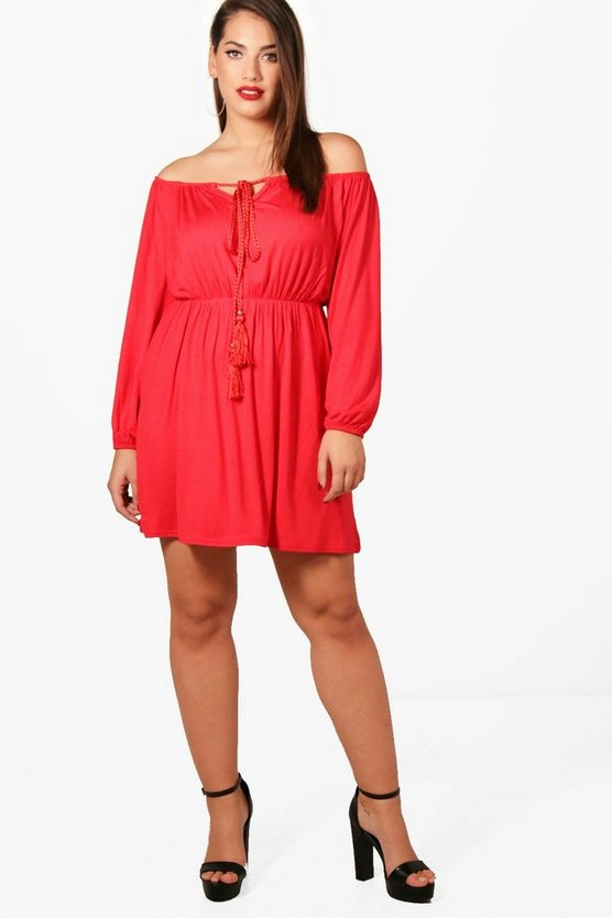 Plus Tasha Off Shoulder Ruffle Skater Dress