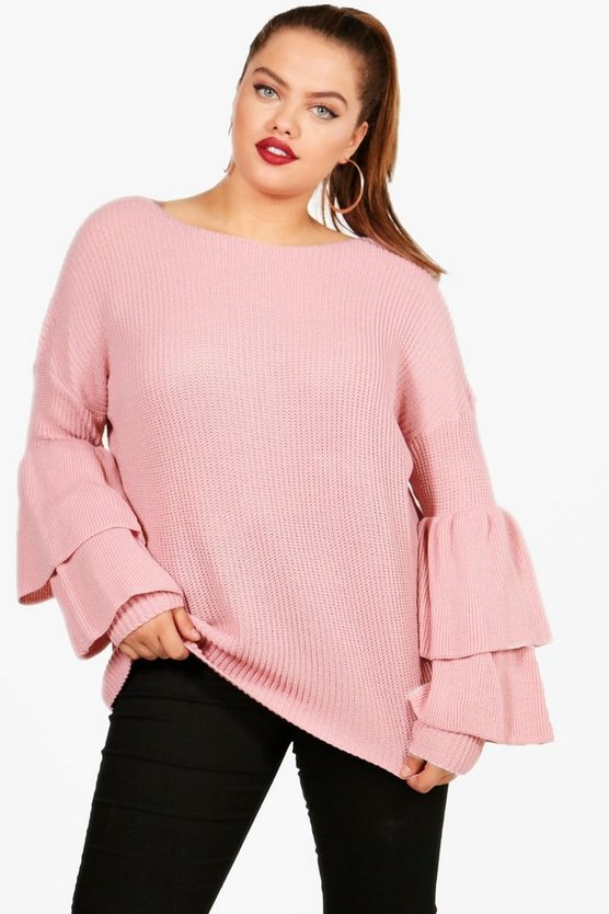 Plus Frill Sleeve Oversized Jumper