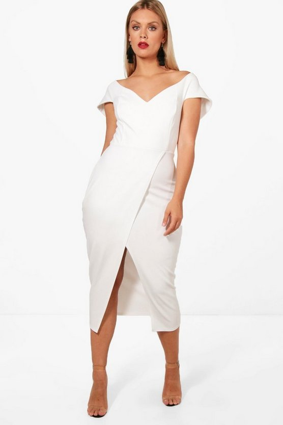Plus Milly Off The Shoulder Wrap Midi Dress