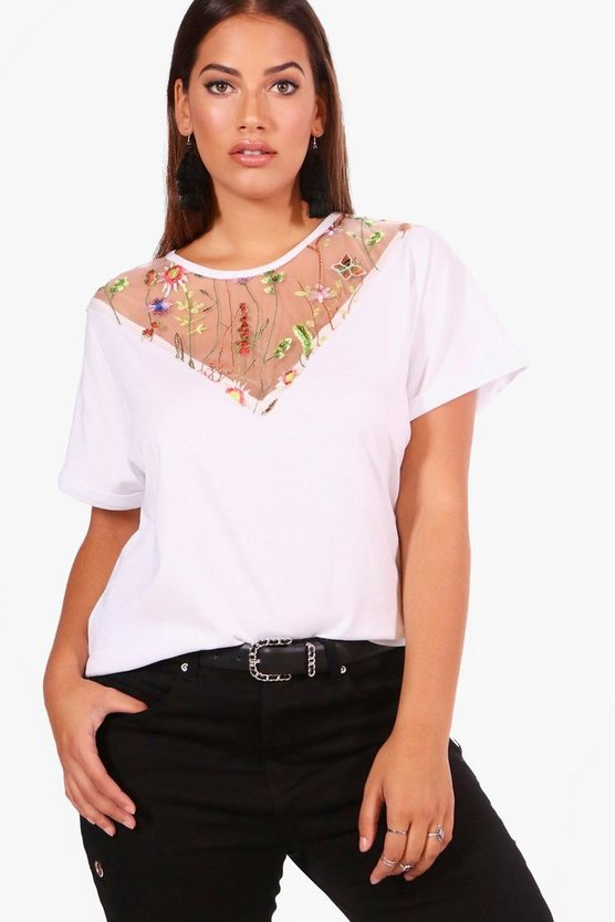 Plus Kelly Embroidered Oversize Tee