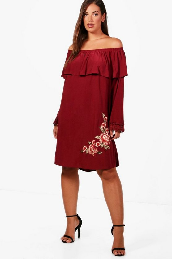 Plus Carly Applique Off The Shoulder Dress