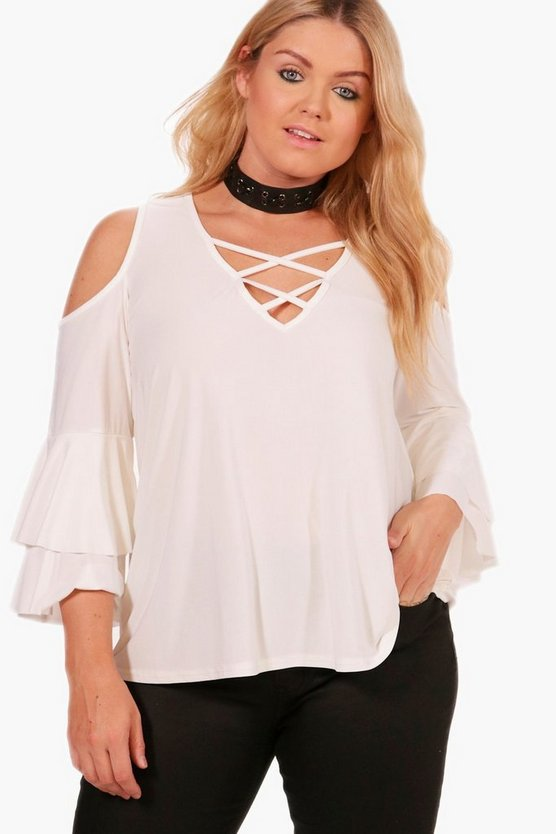 Plus Flare Sleeve Lace Up Top