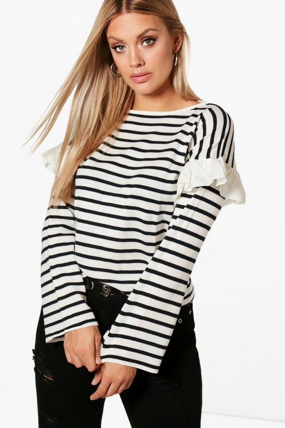 Plus Katie Ruffle Stripe Knitted Jumper
