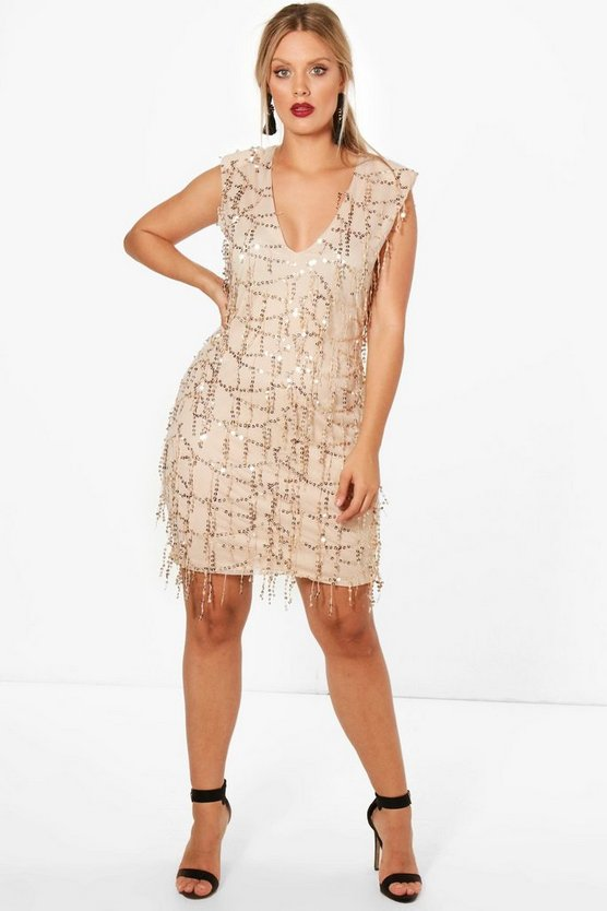 Plus Sasha Plunge Neck Sequin Dress