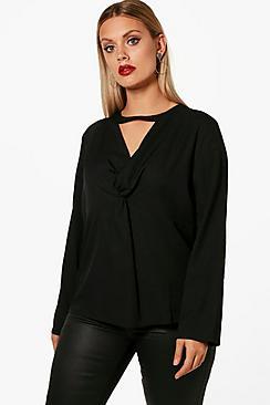 Plus , gedrehtem Bluse mit Kropfband und tiefem Ausschnitt - Boohoo.com