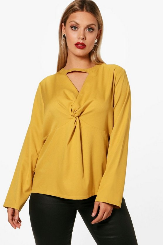 Plus Molly Twist Front Plunge Choker Blouse