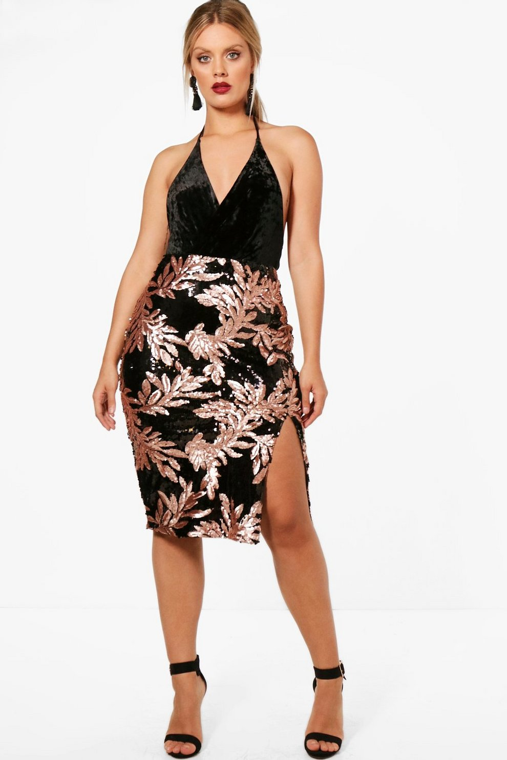 Boohoo Plus Floral Sequin Thigh Split Midi Skirt Buy Cheap Price U8fd2JUb