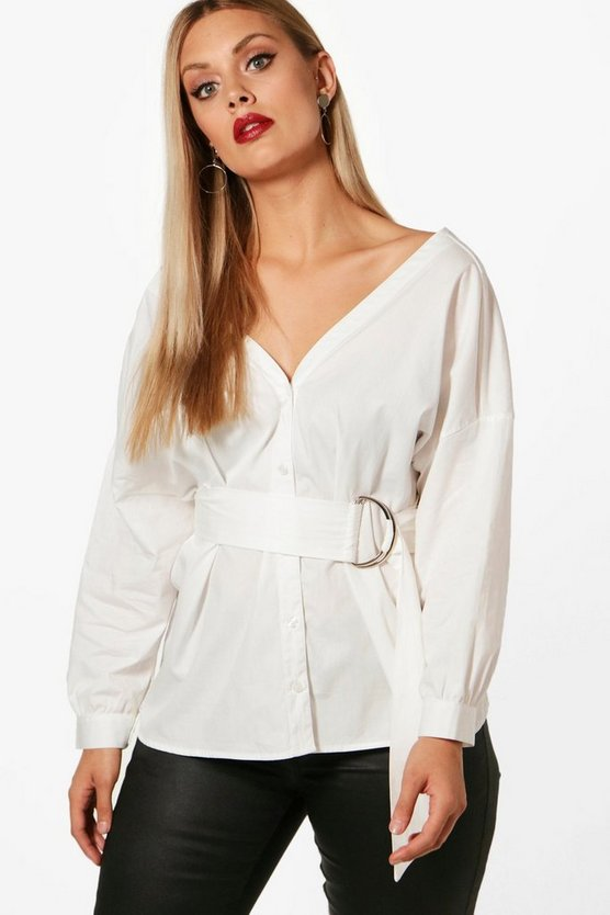 Plus Off The Shoulder Belted Shirt
