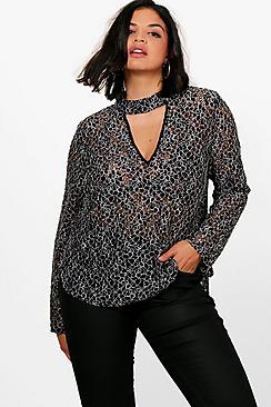 Plus Natasha Schnürung und Kropfband mit Bluse mit ausgestellten Ärmeln - Boohoo.com